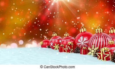 3d animation - red christmas baubles over bokeh background -...