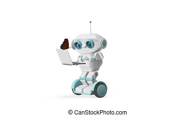 3D Animation Robot and Butterfly Alpha Channel Transparent Background