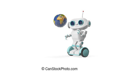 3D Animation Robot with Globe
