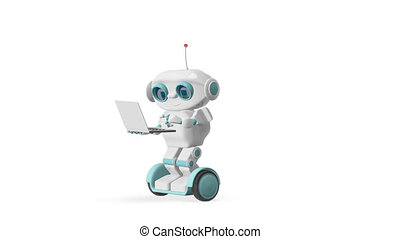 3D Animation Robot with Laptop on Scooter with Alpha Channel