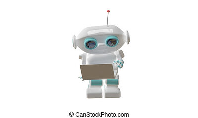 3D Animation Robot with Laptop with Alpha Channel