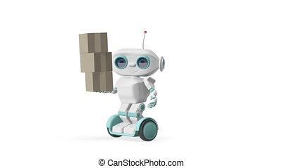 3D Animation Robot with Three Box