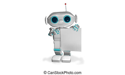 3D Animation Robot with White Paper