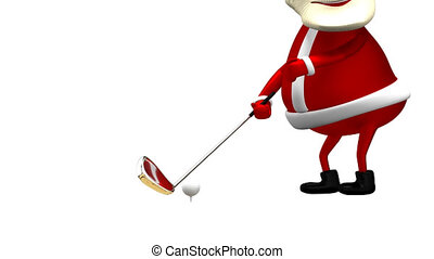 3D Animation Santa Claus Golfer with Alpha Channel Transparent Background