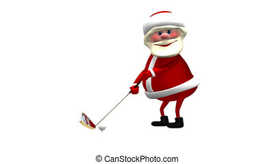 3D Animation Santa Claus Golfer with Alpha Channel