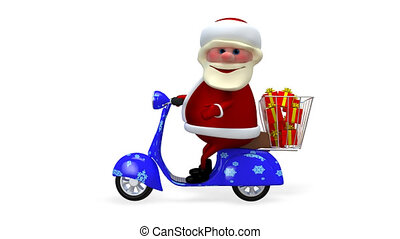 3D  Animation Santa on a Scooter with Gifts with Alpha Channel
