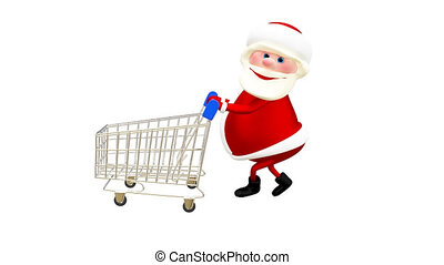 3D  Animation Santa with the Trolley with Alpha Channel