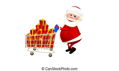 3D  Animation Santa with the Trolley with Gifts and with Alpha Channel