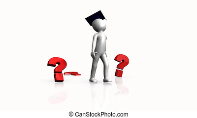 3D Animation showing question marks around a character against a white background