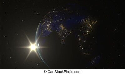 3D Animation Slow Sunrise from Earth orbit. Planet Earth...