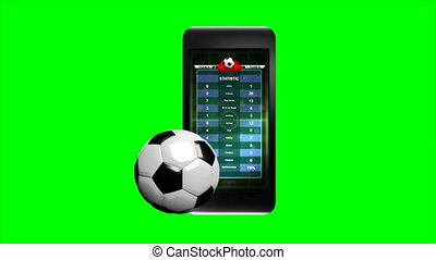 3D Animation soccer ball and smartphone on green screen with alpha matte for mobile phone sport application