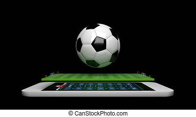 3D Animation soccer football field with spinning soccer ball with alpha matte for football mobile phone application concept