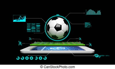 3D Animation soccer football field with spinning soccer ball with graph and hud and technology element and alpha matte for football mobile phone application concept