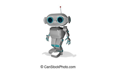 3D Animation The Little White Robot