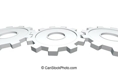 3d animation three gears of white color rotates . White background. Alpha channel. Close up