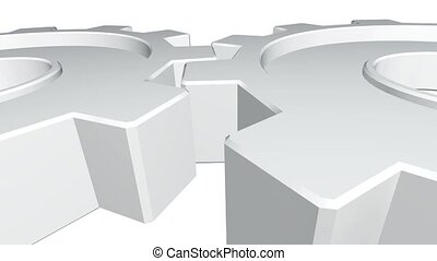 3d animation two gears of white color rotates . White background. Alpha channel. Close up