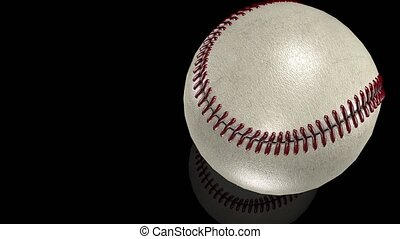 3D animation, white baseball ball in motion on mirror...