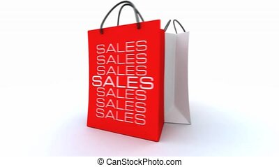 3D animation with three shopping bags with the word sales turning around