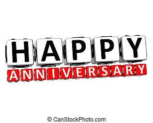 3d, aniversario feliz, botón, haga clic aquí, bloque, texto