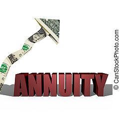 3D Annuity Illustration and dollar arrow