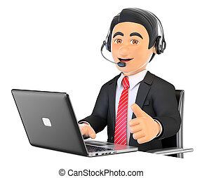 3d, anruf- mitte, angestellter, arbeitende , mit, daumen