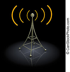 3d antenna - 3d illustration of antenna over black...