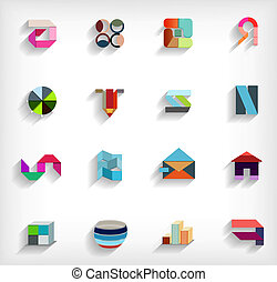 3d, appartamento, geometrico, astratto, affari, icona, set