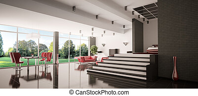 3d, appartamento, panorama, moderno