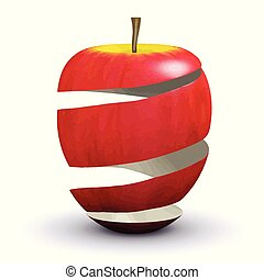 3d Apple peel - 3d render of apple peel