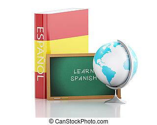 3d, aprender, spanish., educação, concept.