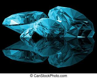A 3d illustration of Aquamarine gems isolated on a black background.