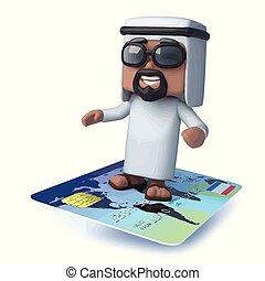 3d Arab flies on a credit card