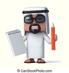 3d Arab has a notepad and pencil