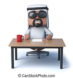 3d Arab sheik sits at a desk