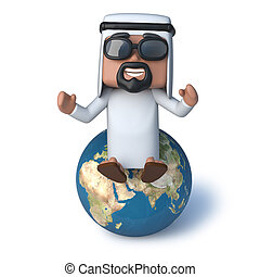 3d Arab sitting on top of the world
