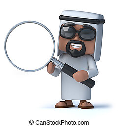 3d Arab using a magnifying glass