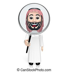 3D arab with magnifying glass