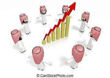 3D arabs - cartoon characters, growth chart