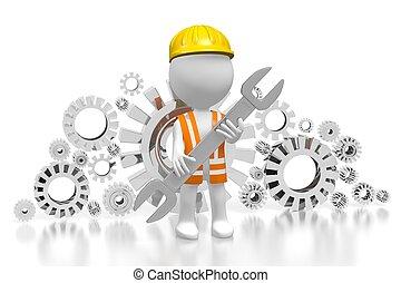 3d, arbeiter, -, zahnräder, begriff