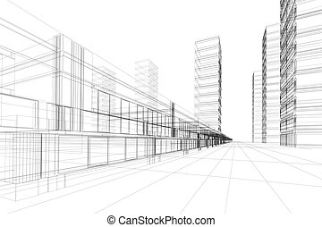 3D architecture abstract - Abstract 3D construction of...