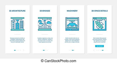 3d architecture and machinery modelling line design UX, UI mobile app page screen set