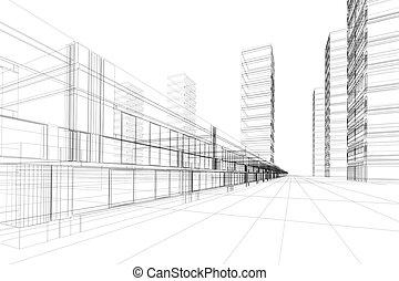 3d, architektura, abstrakcyjny
