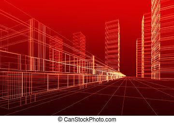 3d, architettura, astratto