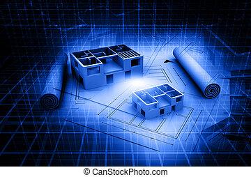 3d, architettura, casa, copia blu, plan., astratto, fondo