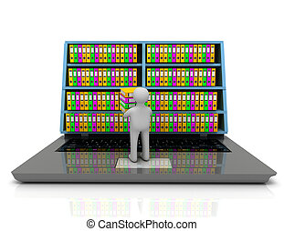 3d Archive concept. Laptop and files on isolated white background