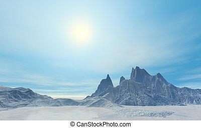 3D render of arctic frozen and sunny landscape