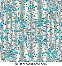 3d, argent, paisley, vecteur, seamless, pattern.
