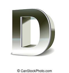 3d, argento, acciaio, lettera, d