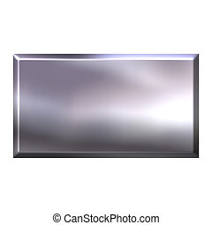 3d, argento, quadrato, bottone
