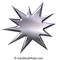 3d, argento, starburst